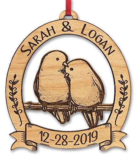 Newlywed Christmas Ornament Lovebirds Personalized Heart Tree Trunk Design Mr Mrs Wedding Date Name Engraved Couples Our First for Him Her Engagement Together (Cute)