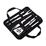 ZLCA BBQ Tool Set,5-Piece 12-Piece 18-Piece 22-Piece Stainless Steel BBQ Barbecue Grill Tool Set (5 pieces in bag)(ZLT1)