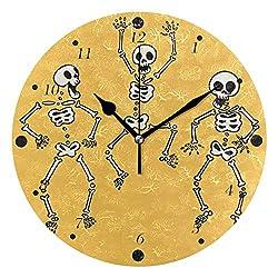 BlueViper Funny Hand Drawn Style Human Skeletons Home Décor Decorative Round Acrylic Wall Clock Art Decoration Modern Elegant Creative