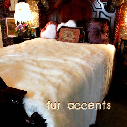 Fur Accents Faux Fur King Size Bedspread / Throw Blanket / 96'' X 120'' King Size Off White by Fur Accents
