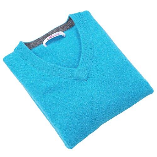 Zhili Men's Perfect Slim Fit V-Neck Cashmere Sweater(Water