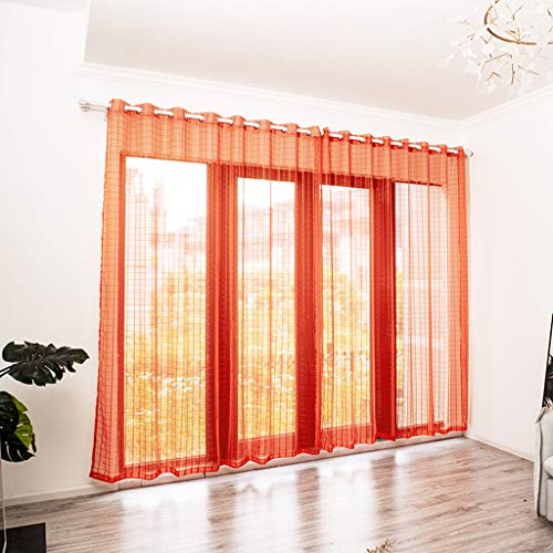 - IAMCOOL Leaves Sheer Curtain Tulle Window Treatment Voile Drape Valance 1 Panel Fabric for Bedroom Living Room (Orange, 200cm x 100cm)