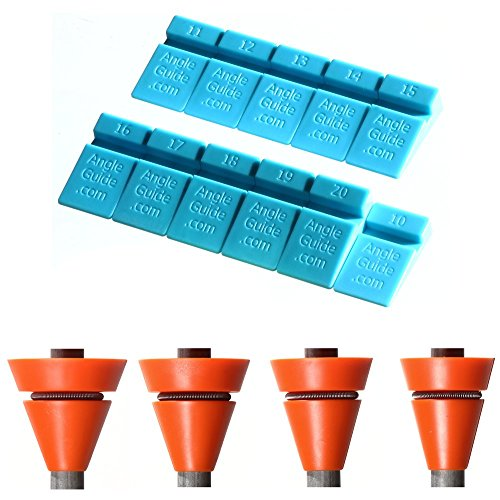 Wedgek Angle Guides for Sharpening Knives Combo, Blue from 10 to 39 degrees for Stones, Orange 14, 16, 18, 20 for Everyday Maintenance on Honing Rods ()