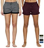 icyzone Workout Lounge Shorts For Women - Athletic Running Jogging Cotton Sweat Shorts (XL, Charcoal/Wine)