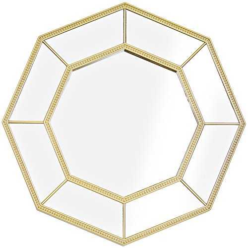 Crystal Art Decorative Framed Octagon Vanity Wall Mirror, Gold by Crystal Art