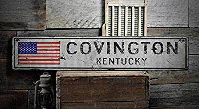 COVINGTON, KENTUCKY - Rustic Hand-Made Vintage Wooden Sign - US Flag