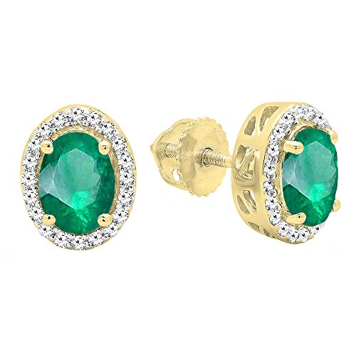 Dazzlingrock Collection 14K Oval Cut Emerald & Round Cut Diamond Ladies Halo Stud Earrings, Yellow Gold