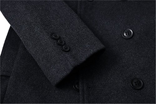 Men's Premium Wool Blend Double Breasted Long Pea Coat (Grey, Large) by HXW.GJQ (Image #3)
