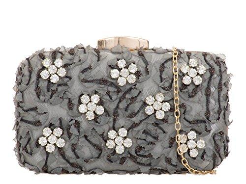 Silver Handbags Evening Floral Wedding 2112 Clutch Women's Bag LeahWard wxfYzq8gw