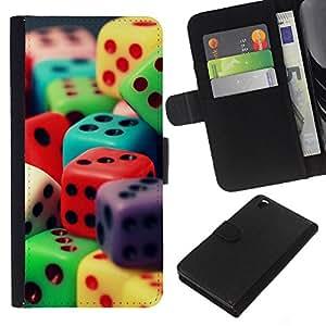 KingStore / Leather Etui en cuir / HTC DESIRE 816 / Dados colorido juego juego de números de juguete Poker