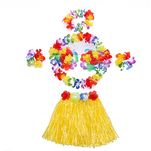 Girl Tattoo Hawaii Hula (Hawaii Dancing Mahalo Floral Costumes Child Lei & Grass Skirt Hula Set, 6-Piece, Yellow, 12