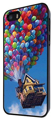 038 - Funky UP Flying house Balloons Design iphone 4 4S Coque Fashion Trend Case Coque Protection Cover plastique et métal - Noir