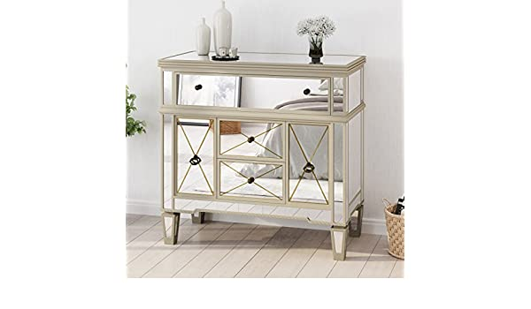 Amazon Com Fellin Gold Finished Mirrored 5 Drawer Cabinet With Faux