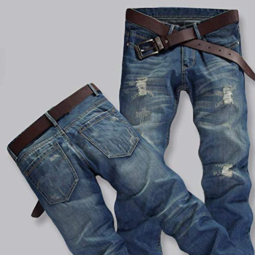 Dritta Slim Uomo Denim Abbigliamento Fit Con Pantaloni Gamba Distrutti Strappati Lichtblau E Jeans Da Lavati nOqSw88