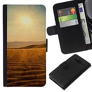 KLONGSHOP // Tirón de la caja Cartera de cuero con ranuras para tarjetas - Vistas del desierto - Samsung Galaxy Core Prime //