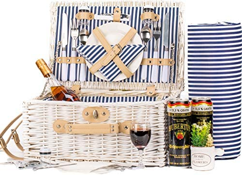 Icego Romantic Wicker Picnic Basket For 2 Persons Special White Washed Willow Hamper Set With Big Insulated Cooler Compartment Free Blanket And Cutlery Service Kit For Outdoor Party Or Camping Amazon Sg Lawn