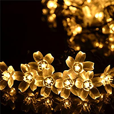 Wedna Solar Powered 23ft 50 LED Peach Blossom String Lights for Gardens, Lawn, Patio, Christmas Trees, Weddings, Parties Decorations(Warm White)