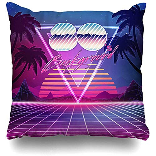 (Throw Pillows Covers Cushion Case Retro Sci Fi Summer Landscape Futuristic Synth Wave Suitable Home Decor Pillowcase Square 18 x 18 Inches)