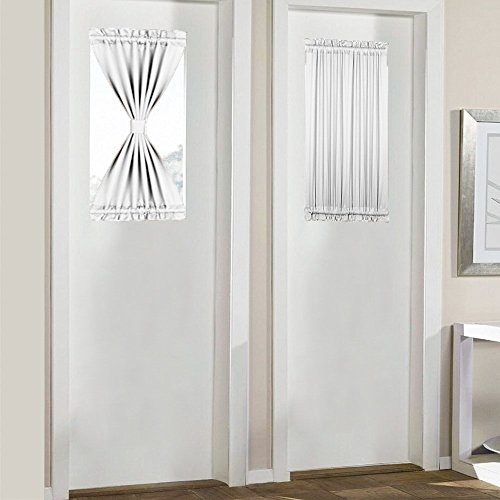 PANOVOUS French Door Curtain White - Elegant Thermal Insulated Blackout Sliding Door Curtains/Sidelight Curtain Panels Platinum One Piece 25x40 Inch