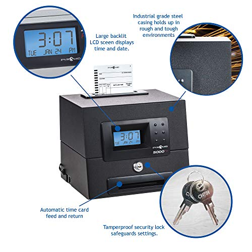 Pyramid 5000HD Heavy Duty Steel Auto Totaling Time Clock - Made in the USA by Pyramid Time Systems (Image #3)