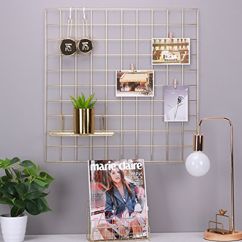 Simmer Stone Gold Wall Grid Panel for Photo Hanging Display & Wall Decoration Organizer, Multi-Functional Wall Storage Display Grid, 10 Clips & 4 Nails Offered, Set of 1, Size 23.6