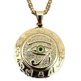 MCSAYS Hip Hop Jewelry Eye of Horus Rune Round Pendant Stainless Steel Amulet Necklace (Green)