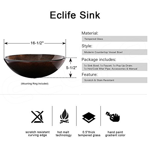 Eclife 24 inch Bathroom Vanity Combo Modern MDF Cabinet with Vanity Mirror Tempered Glass Counter Top Vessel Sink with 1.5 GPM Faucet and Pop Up Drain A1B2