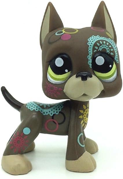 Littlest Pet Shop Flower Tattoed Tan Dog Great Dane Loose Figure Child Girl Toy