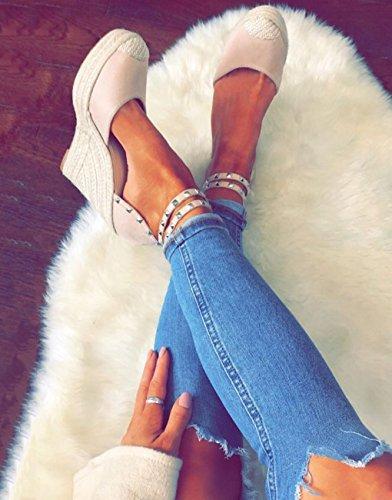 Rivet Sandales Lanière Cheville Plateforme Minetom Talon Casual Pink Femme Été Compensé Espadrille Sandale Mode Sandals FTqntw