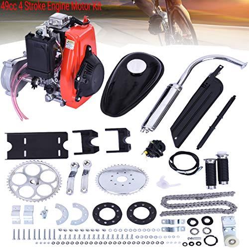 "49cc 4 Stroke Engine Motor Kit, Bike Engine Kit 4 Stroke, Gas Petrol Motorized Bike Engine Bicycle for 26"" or 28"" ATV Bikes (Silver)"