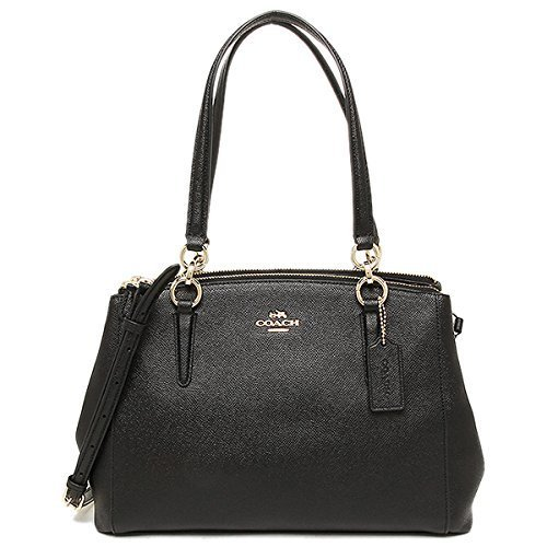 COACH SMALL CHRISTIE CARRYALL IN CROSSGRAIN LEATHER IMITATION GOLD/BLACK