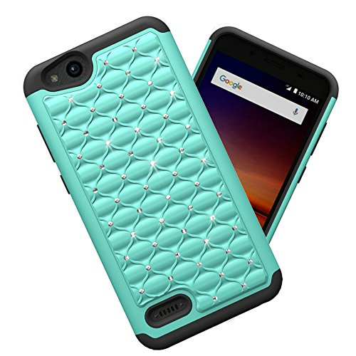 Zte Tempo X Case  Zte Avid 4 Case  Zte Blade Vantage Case  Jilika Pc Housing   Silicone Combo Inner Casing  Deluxe Point Drill Phone Case For Zte Tempo X N9137  Mint Green   Black