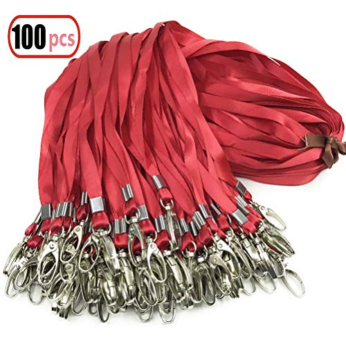 - Red Lanyard Bulk Clip Swivel Hooks Nylon Neck Flat Lanyard with Clips Durably Woven Red Badge Lanyards with Clip Red Lanyards for Id Badges, Lanyards 100Pack 32-Inch