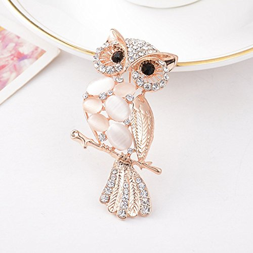 B&Y 5Pcs Crystal Rhinestone Alloy Owl Brooch Pin - Jasper Golden Horse
