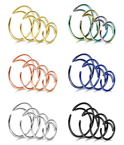 Fiasaso 24 Pcs 20g Stainless Steel Septum Ring Moon Nose Ring Helix Ear Piercing Hoop Body Piercing for Women Men 6 Colors (20gauge Nose Rings)