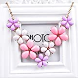 Pink-2 - Fashion Crystal Flower Choker Chunky Statement Bib Necklace Charm Chain Pendant