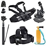 EEEKit Starter Accessory Kit for Gopro Hero 5 Black Session 4 3 2  LCD and Other Gopro Style Cameras, Selfie Stick, Car Suction Mount, Head Strap, Chest Harmess, Floaty Handle Grip