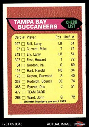 1976 Topps # 477 Buccaneers Team Checklist Tampa Bay Buccaneers (Football Card) Dean's Cards 5 - EX Buccaneers