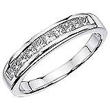 0.50 Carat (ctw) 14K White Gold Princess White Diamond Anniversary Wedding Stackable Ring Band 1/2 CT (Size 6.5)