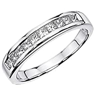 0.50 Carat (ctw) 14K White Gold Princess White Diamond Anniversary Wedding Stackable Ring Band 1/2…