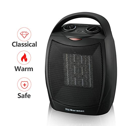 Warmtec 1500W Ceramic Space Heater with Carry Handle Adjustable Thermostat Electric Desk Heater Fan (Black) - Indoor Black Heater