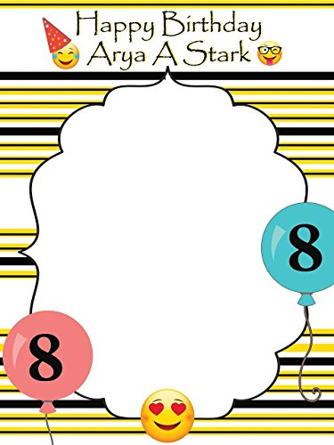 Large Custom Emoji Happy Birthday Photo Booth Prop - sizes 36x24, 48x36; Pesonalized Large Emoji Party, Emoji baby shower, emoji decoration, Home Decorations, Handmade Party Supply Photo Booth Frame