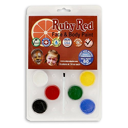 Ruby Red Paint Face Paint, 2ML X 6 Colors - Clam - 6 Color