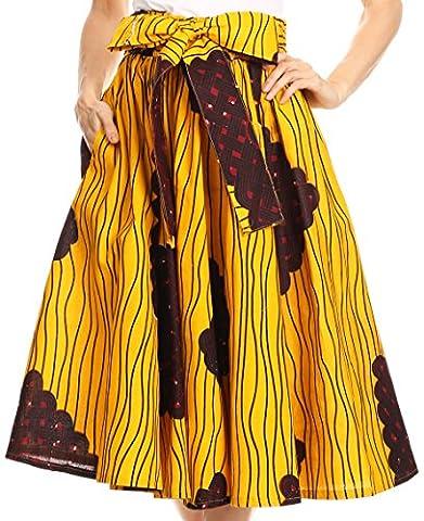 Sakkas 16321 - Celine African Dutch Ankara Wax Print Full Circle Skirt - 517-YellowNavy - OS - Circle Print Tie