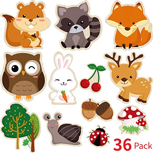 - Blulu 36 Pieces Woodland Creatures Party Supplies, 5.90 x 7.87 Inch Laminated Woodland Animal DIY Baby Shower, Woodland Animal Cutouts for Woodland Animal Theme Party