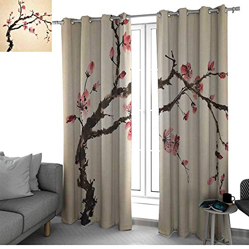 (bybyhome Japanese Kitchen/Bedroom Window Treatments Home Decoration Traditional Chinese Paint of Figural Tree with Details Brushstroke Effects Print Window Pink Brown W84 x L96 Inch)
