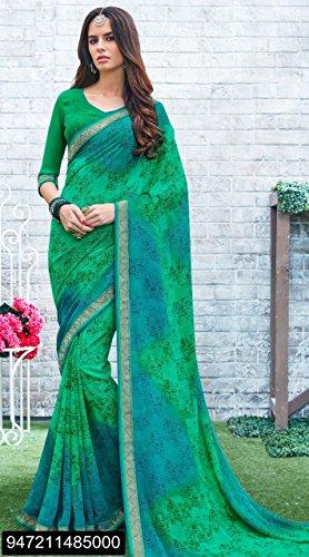 casual tradizionale georgette 100 indiano originale stampato sari donne saree vestito camicetta camicetta 2811 signore 5BqxwFWAx