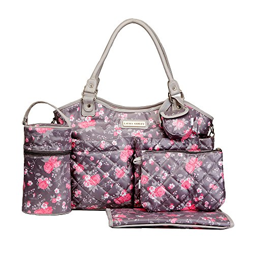 Laura Ashley 6 in 1 Floral Tote Diaper Bag, Gray and Pink