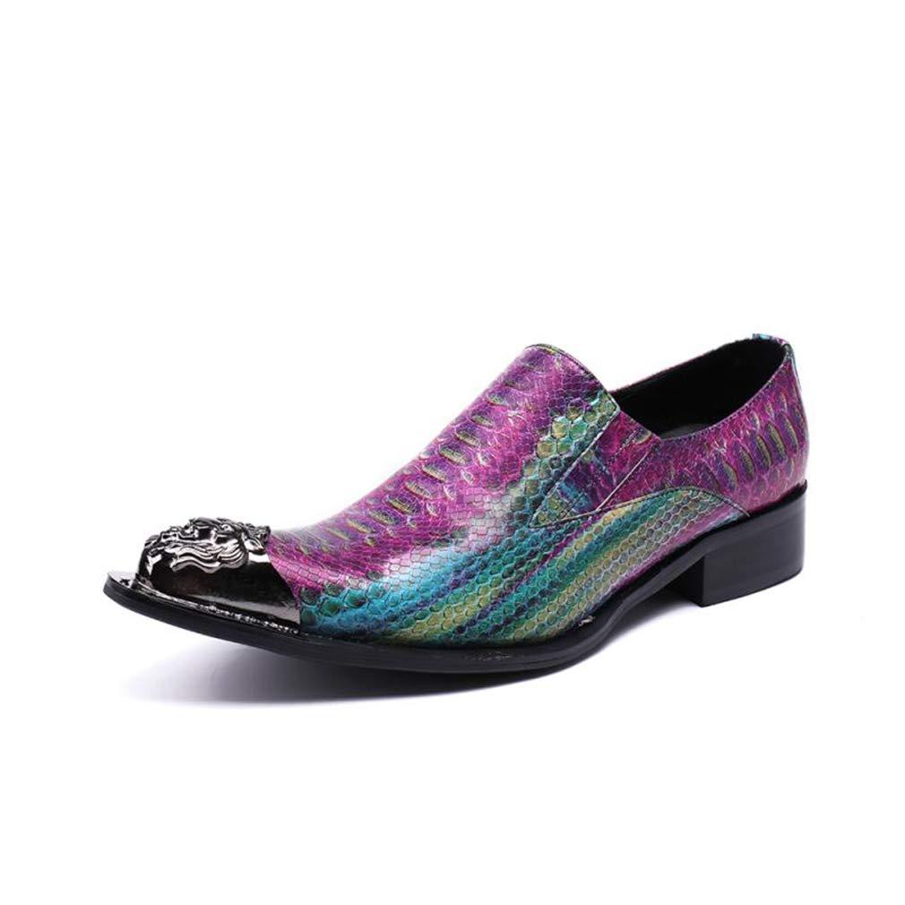 Hy Herrenschuhe, Spitze Formale Business-Schuhe, T-Stage Catwalk-Schuhe, Abendschuhe, Büro & Karriere Party & Abend (Farbe   Lila, Größe   39)
