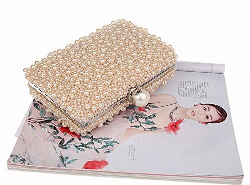 Handbag Party KELAND Embedded Wedding Bridal Beaded Champagne Faux Purse Pearl Womens Frame Bag Evening Clutch zqzS4vP